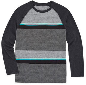 Arizona Long Sleeve Textured Raglan Tee Boys 8-20 & Husky