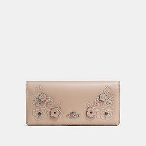 COACH Coach Slim Wallet In Glovetanned Leather With Tea Rose Tooling - LIGHT ANTIQUE NICKEL/STONE - STYLE