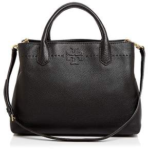 Tory Burch McGraw Triple Compartment Leather Satchel - BAGUETTE/GOLD - STYLE