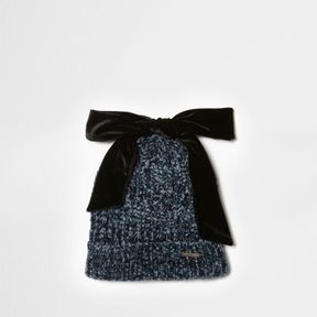 River Island Womens Navy chenille knit bow top beanie hat