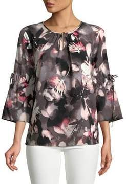 Ellen Tracy Floral Boatneck Top