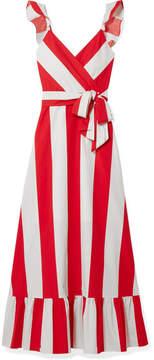 Alice + Olivia Alice Olivia - Fernanda Ruffled Striped Cotton-poplin Maxi Dress - Red