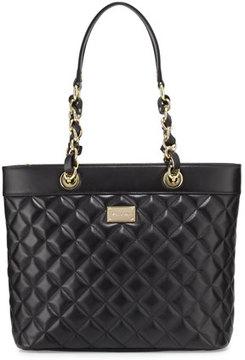 St. John Collection Quilted Napa Leather Shoulder Bag, Black/Gold