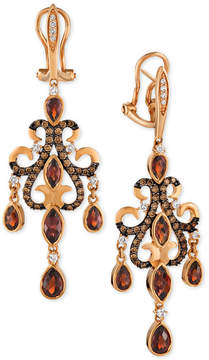 LeVian Le Vian Chocolatier Garnet (3-5/8 ct. t.w.), Chocolate Diamond (9/10 ct. t.w.) and Diamond Accent Chandelier Earrings in 14k Rose Gold