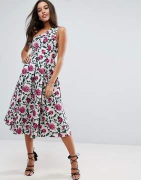 Asos Asymmetric Bardot Rose Jacquard Floral Prom Midi Dress