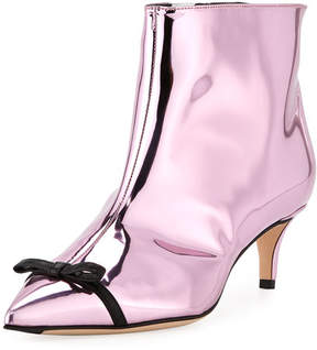Marco De Vincenzo Bow-Trim Metallic Ankle Boot
