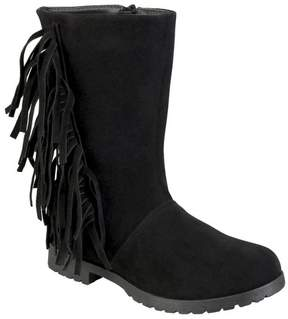Journee Collection Girls' Luzie Round Toe Fringed Fashion Boots - Assorted Colors