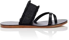 Barneys New York Women's Fringed Denim & Leather Slide Sandals