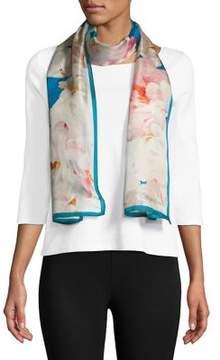 Calvin Klein Floral Print Silk Scarf