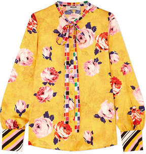 MSGM – Floral-print Satin Blouse – Yellow