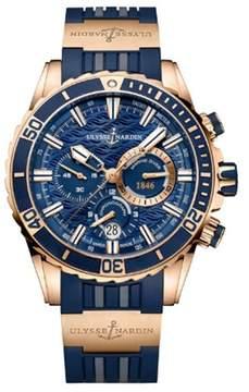 Ulysse Nardin Diver Blue Dial Automatic Men's Chronograph 18K Rose Gold Watch