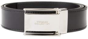 Versace Men's Stainless Steel Buckle Leather Belt Black