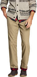 Lands' End Men's Traditional Fit Flannel Lined Knockabout Chinos-Black
