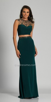 Dave and Johnny Beaded Crew Neck Sleeveless Two Piece Evening Dress