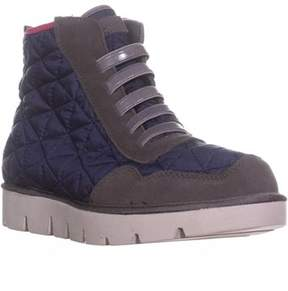 Mia Terran High Top Stretch Slip On Fashion Sneakers, Navy.