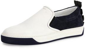 Fendi Crocodile-Back Leather Slip-On Sneaker, White/Blue