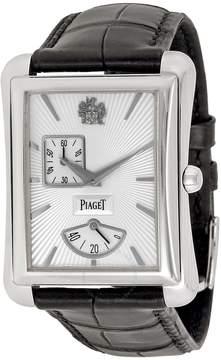 Piaget Black Tie Emperador Silver Dial Black Leather Watch