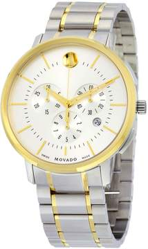 Movado Men's Thin Classic Chronograph Silver Soleil Dial Two-Tone Stainless Steel Mens Watch, 44mm
