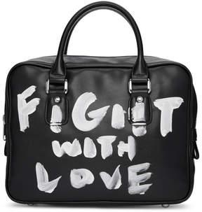 Comme des Garcons Black Faux-Leather Hand-Painted Bag