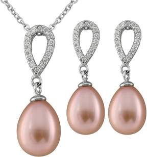 Bella Pearl Sterling Silver Pink Drop Pearl Earring and Necklace Set