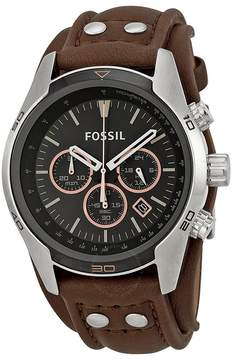 Fossil Coachman Chronograph Black Dial Brown Leather Men's Watch