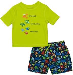 Trunks Baby Boy Kiko & Max Crab, Turtles & Fish Rash Guard & Swim Set