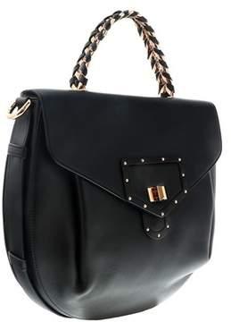 Roberto Cavalli Black/pink Gold Leather Top Handle Bag