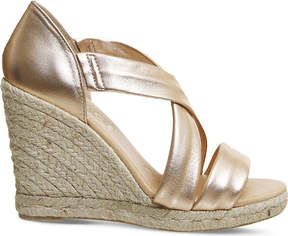 Office Holiday cross-front espadrille wedges