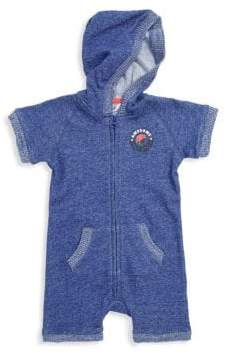 Petit Lem Baby Boy's Cotton Hooded Playsuit