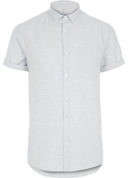 River Island Mens Blue marl plain short sleeve shirt