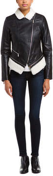 Dawn Levy 2 Kit Kat Black Faux Shearling Trim Leather Jacket