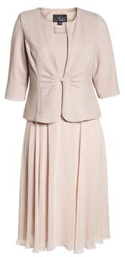 Alex Evenings Glitter Tea Length A-Line Dress with Jacket