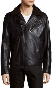 Karl Lagerfeld Faux Fur Collared Leather Jacket
