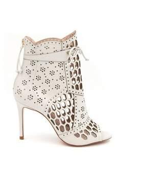 Rachel Zoe Julie Laser-Cut Leather Peep-Toe Ankle Boots