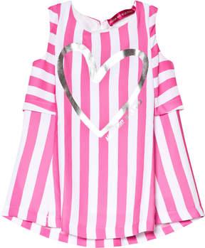 Agatha Ruiz De La Prada Pink And White Heart Print Striped Dress