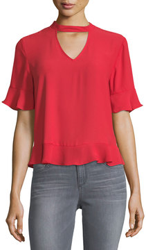 Collective Concepts Choker-Collar Short-Sleeve Blouse
