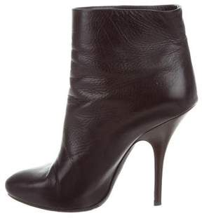 Lanvin Leather Round-Toe Ankle Boots