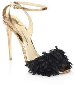 Paul Andrew Limited-Edition Quill Leather Ankle-Strap Pumps