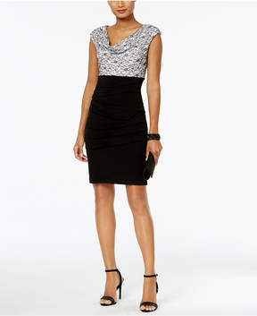 Connected Ruched Lace Sheath Dress