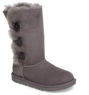 UGG Bailey Button Triplet II Genuine Shearling Boot (Little Kid)