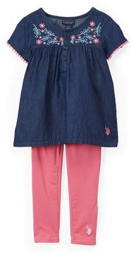 U.S. Polo Assn. Camellia Rose Floral Tee & Leggings - Infant, Toddler & Girls