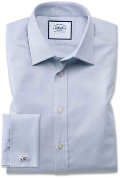 Charles Tyrwhitt Slim Fit Egyptian Cotton Trellis Weave Grey Dress Shirt Single Cuff Size 14.5/33