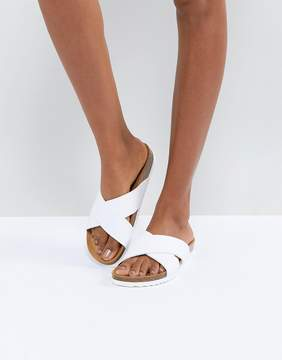 White Cross Front Slider Sandals