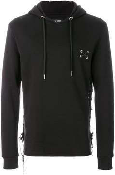 Les Hommes lace-up detail hoodie