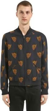 The Kooples Leopards Zip-Up Viscose Bomber Jacket