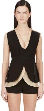 CNC Costume National Nude and Black Layered Backless Vest
