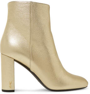 Saint Laurent Lou Lou Metallic Textured-leather Ankle Boots - Gold