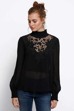 Astr Claire Sheer Long Sleeve Woven Blouse
