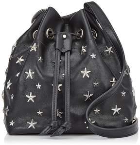 Jimmy Choo JUNO Black and Metallic Leather Drawstring Bag with Multimetal Star Detailing