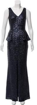 Carmen Marc Valvo Sleeveless Sequin Gown